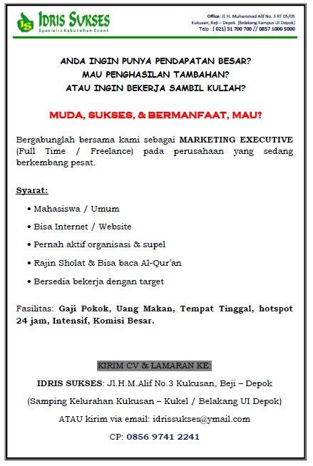 Lowongan Kerja Marketing Executive Kampus Maya